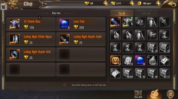 Giang Hồ Chi Mộng cho phép game thủ giao dịch tự do đồ không khóa 3