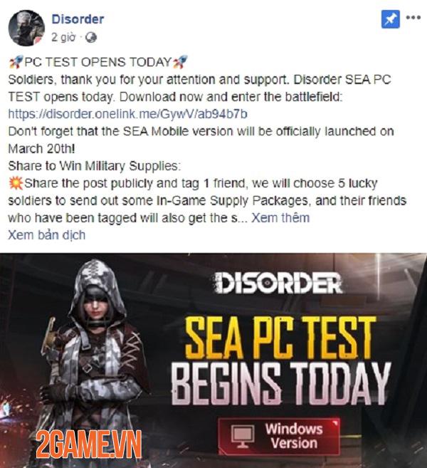 Trì hoãn ra mắt bản mobile nhưng Disorder bất ngờ mở test bản PC khu vực SEA 0