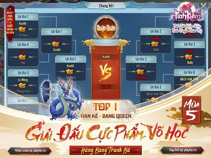 Tình Kiếm 3D vinh danh Tứ Đại Chi Chủ của siêu giải đấu Cực Phẩm Võ Học mùa 5 2