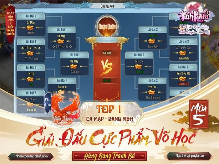 Tình Kiếm 3D vinh danh Tứ Đại Chi Chủ của siêu giải đấu Cực Phẩm Võ Học mùa 5 6