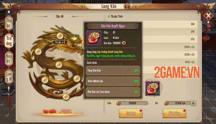 Người chơi Tân Thiên Long Mobile VNG tăng lực chiến vù vù nhờ tính năng mới Long Văn 2