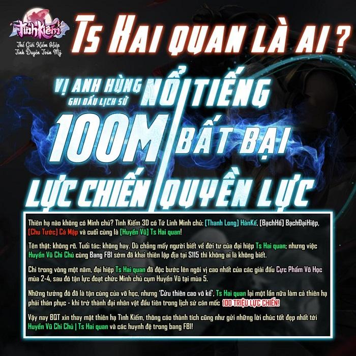 Ts Hai quan trở thành game thủ Tình Kiếm 3D đầu tiên đạt 100 triệu lực chiến 0
