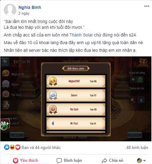 Cao thủ ANghiaF5NT tuyên bố thách đấu tất cả game thủ Toàn Dân Tam Quốc 1