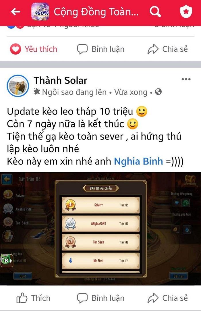 Cao thủ ANghiaF5NT tuyên bố thách đấu tất cả game thủ Toàn Dân Tam Quốc 2