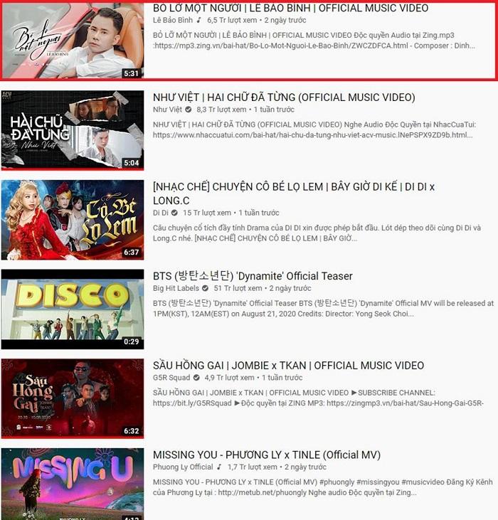 MV hợp tác giữa Lê Bảo Bình và Tình Kiếm 3D thống trị BXH Top Trending 0