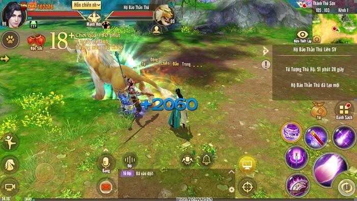 Tân Thiên Long Mobile luyện khả năng hỗn chiến nhóm với Hộ Bảo Thần Thú Liên Server 1