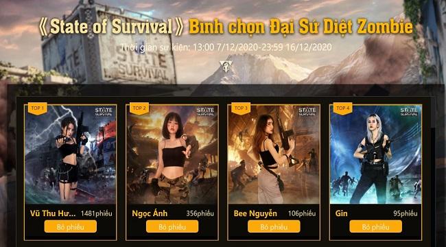 Cuộc thi Đại sứ diệt Zombie của State of Survival góp mặt nhiều bóng hồng xinh đẹp