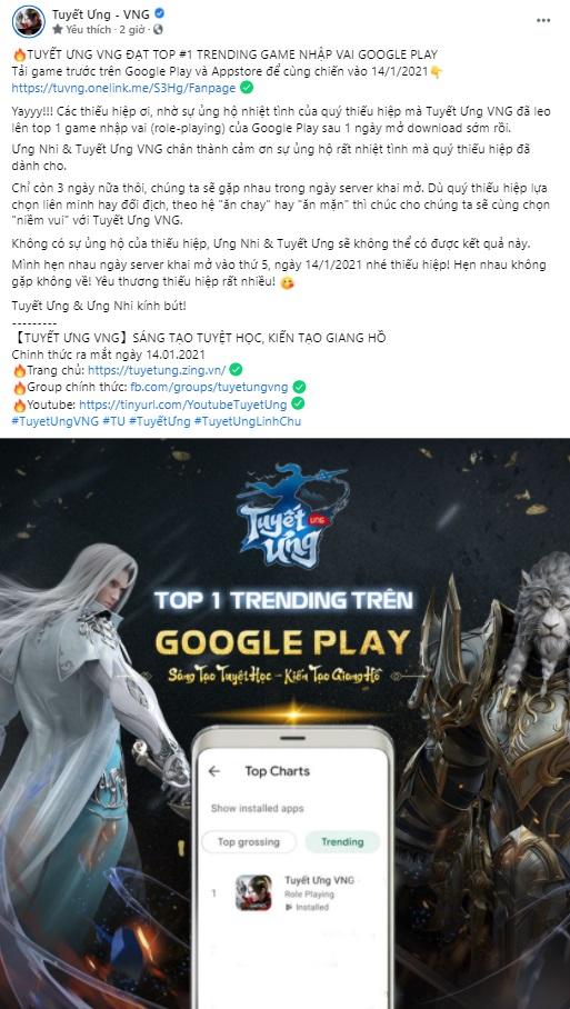 Tuyết Ưng VNG đạt #1 game nhập vai trên Google Play chỉ sau 01 ngày mở tải sớm 0