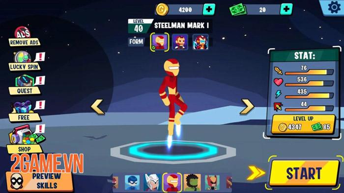 Stickman Heroes Fight - Nhẹ mà hay với người que anh hùng biến 0