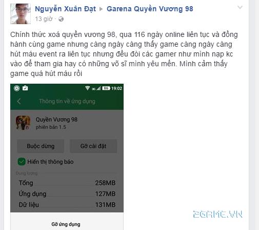 Game Quyền Vương 98 bị game thủ tố cáo về hành vi cài người vào kích top của NPH 9