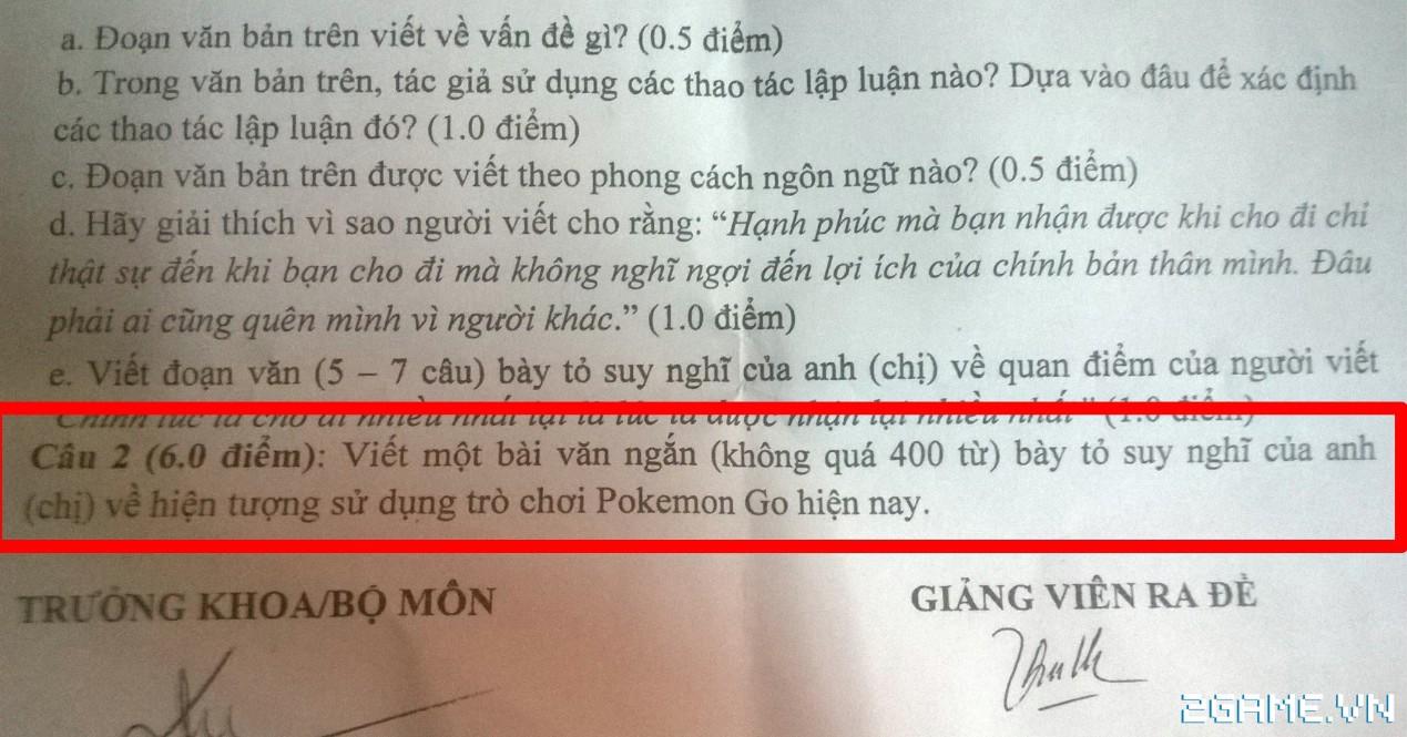 Sau VLTK thì đến lượt Pokemon GO được đưa vào đề thi Văn học tại Việt Nam