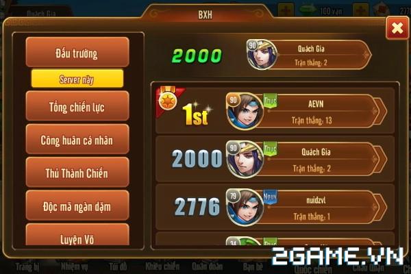 Tam Quốc GO - Hệ thống BXH liên server 1