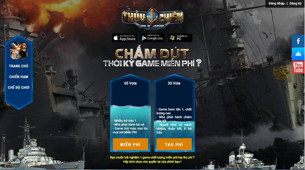 Game Thủy Chiến 3D Mobile cho phép người chợi chọn lựa hình thức Thu phí 0