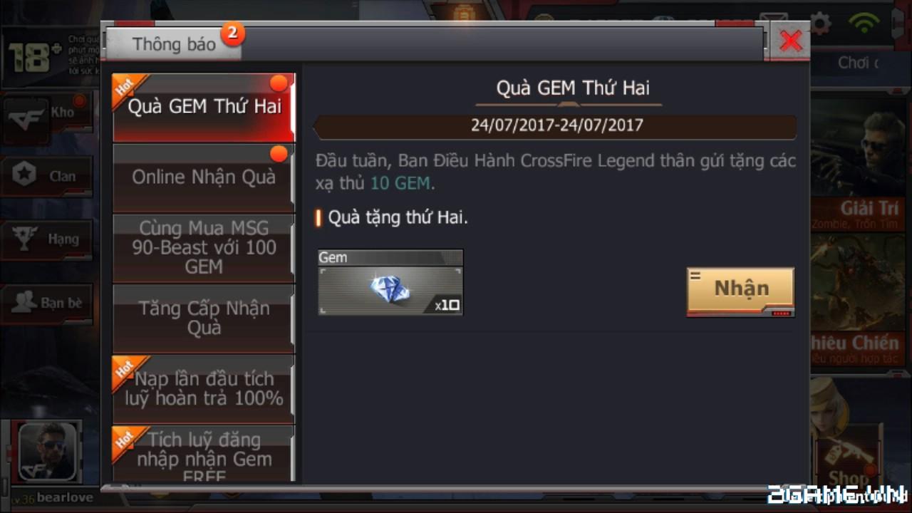 Crossfire Legends - Sáng thứ 2 (24.07) có gì vui: đăng nhập nhận gem, nạp 1 gem nhận Thompson-Inferno Dragon, chơi Trốn tìm lụm AK47-Silver 1