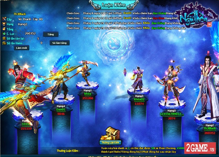 Điểm mặt những hoạt động kiếm hiệp trong game tiên hiệp Ngũ Thần Online 1