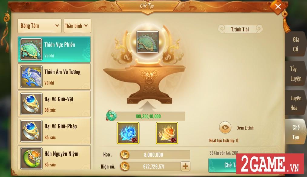 Thiên Hạ 3D cho phép người chơi tự tay chế tạo ra thần binh khủng cho nhân vật 3