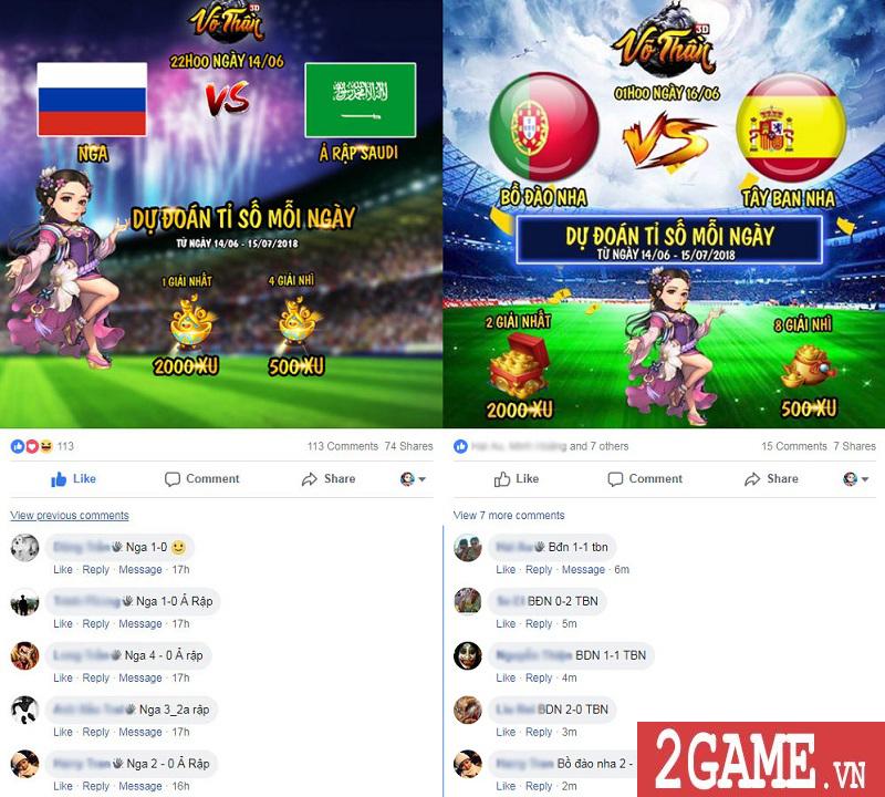 Võ Thần 3D tổ chức sự kiện World Cup khủng, tổng giải thưởng lên tới 8000 xu mỗi ngày 3