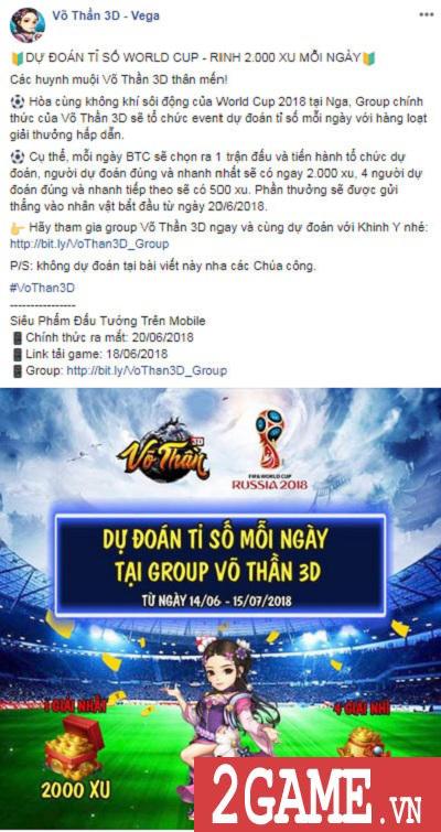 Võ Thần 3D tổ chức sự kiện World Cup khủng, tổng giải thưởng lên tới 8000 xu mỗi ngày 2