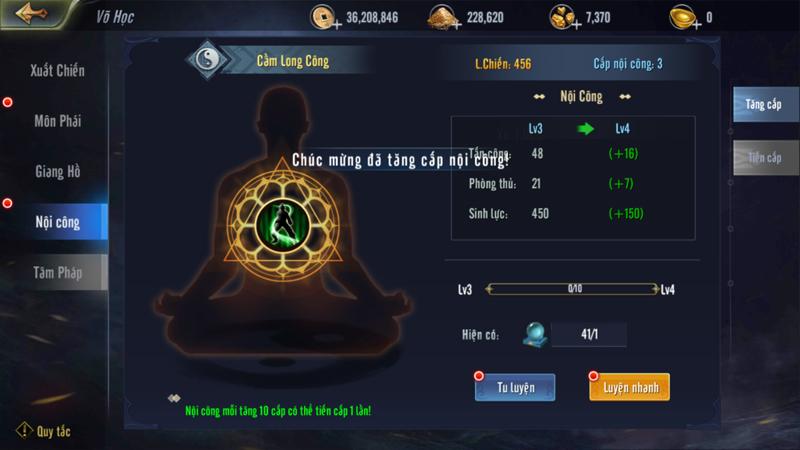 Những điều người chơi cần biết về hệ thống Võ Học trong game Cửu Dương VNG 4