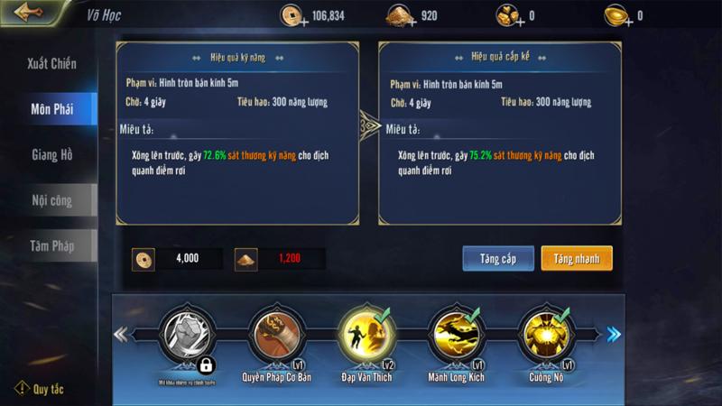 Những điều người chơi cần biết về hệ thống Võ Học trong game Cửu Dương VNG 1