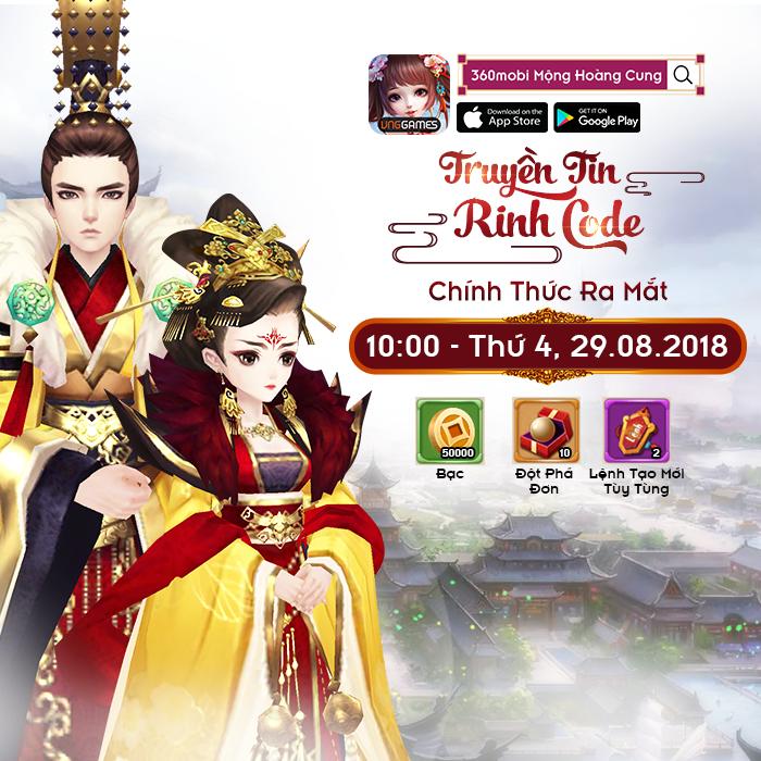 Tặng 456 giftcode 360mobi Mộng Hoàng Cung 1