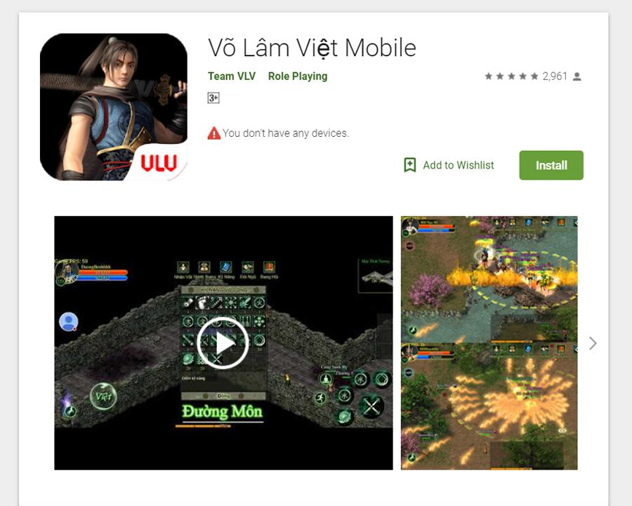 Dự án Võ Lâm Việt Mobile xuất hiện trên kho ứng dụng Google Play 0