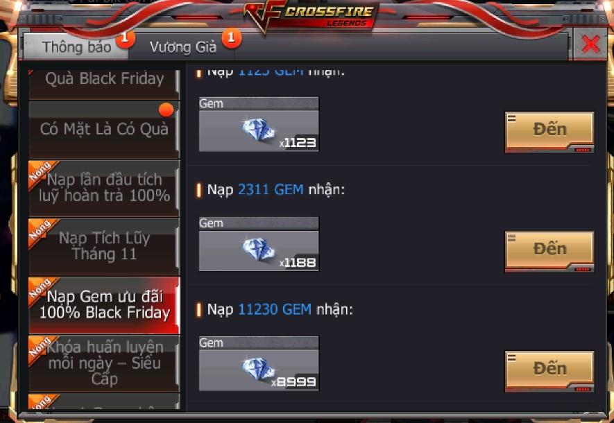 Crossfire Legends tung ra shop giảm giá lên đến 90% vào ngày BlackFriday 0