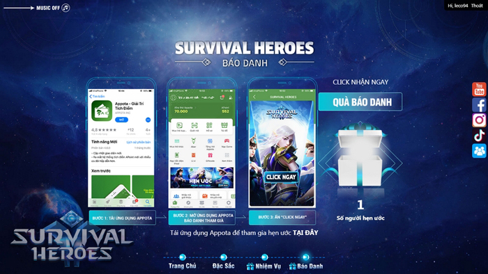 Cuối cùng Survival Heroes Việt Nam đã chịu ra mắt fan game MOBA và Sinh tồn 2