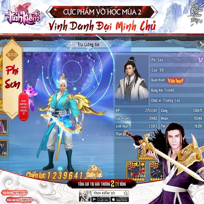 Tình Kiếm 3D vinh danh Tân Vương giải đấu Cực Phẩm Võ Học mùa 2 0