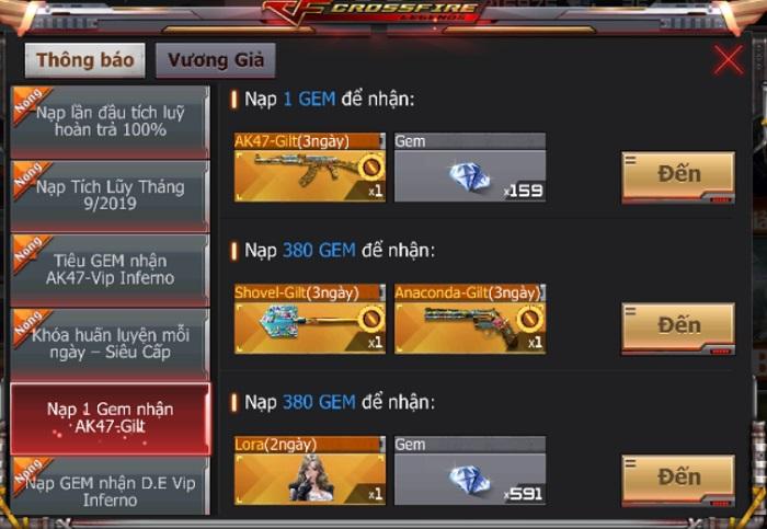 Trải nghiệm nhân vật và vũ khí VIP với giá 1 GEM trong chuỗi sự kiện Crossfire Legends 1
