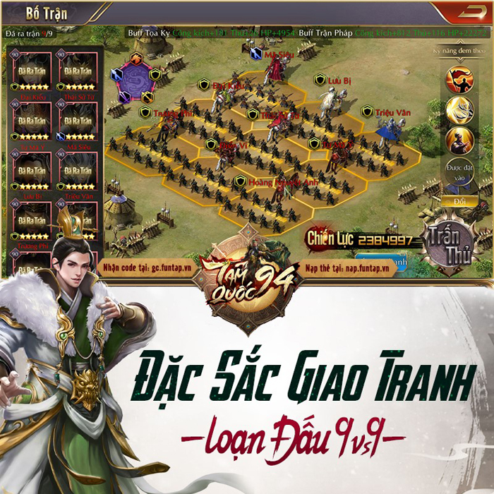 Tặng 555 giftcode game Tam Quốc 94 2