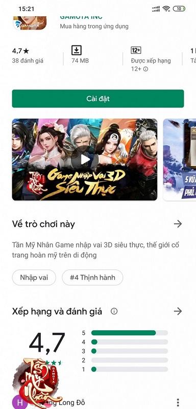 Tần Mỹ Nhân Gamota lọt top game thịnh hành trên Google Play dù chưa ra mắt 2