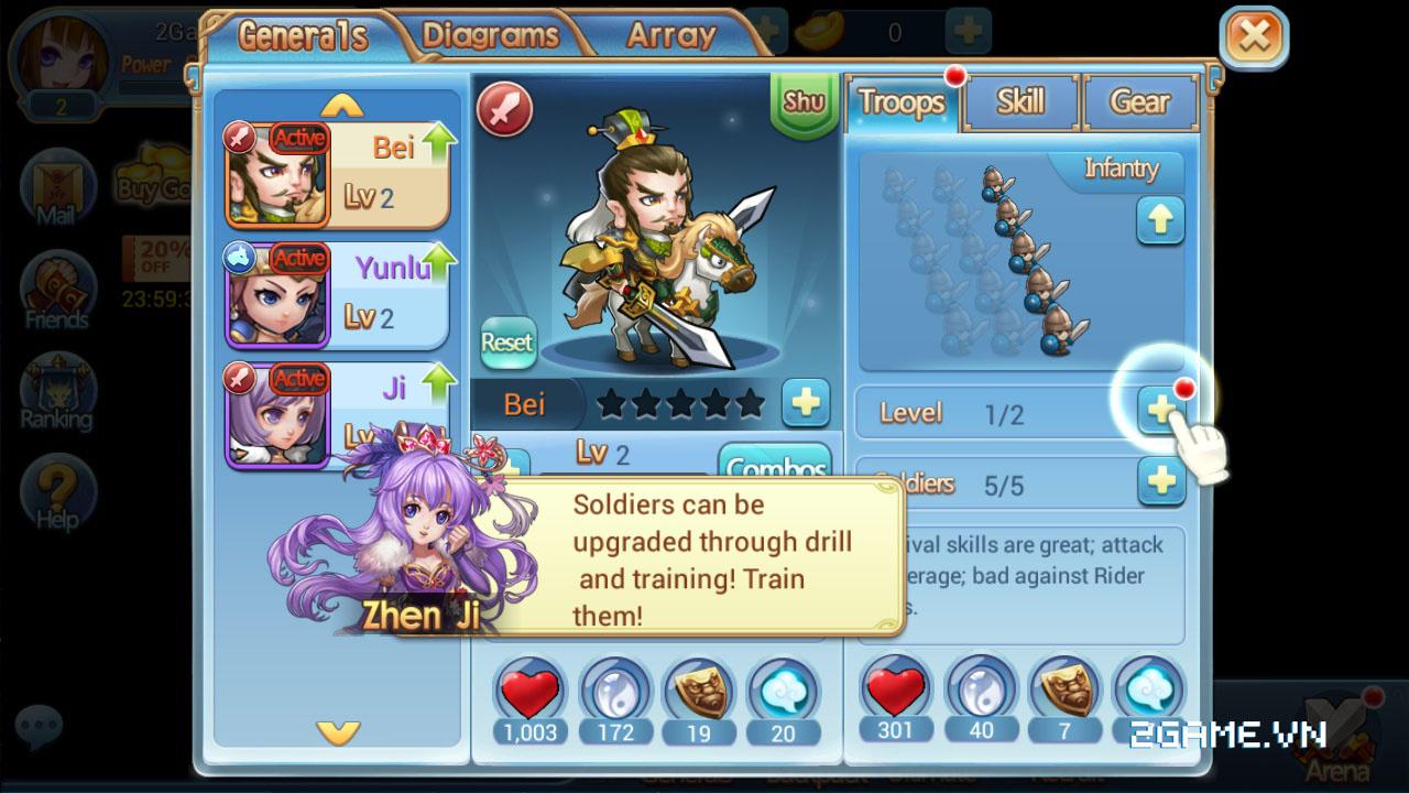 3Q Truyền Kỳ tăng tính chiến thuật bằng số tướng và ô xếp trận hình 3