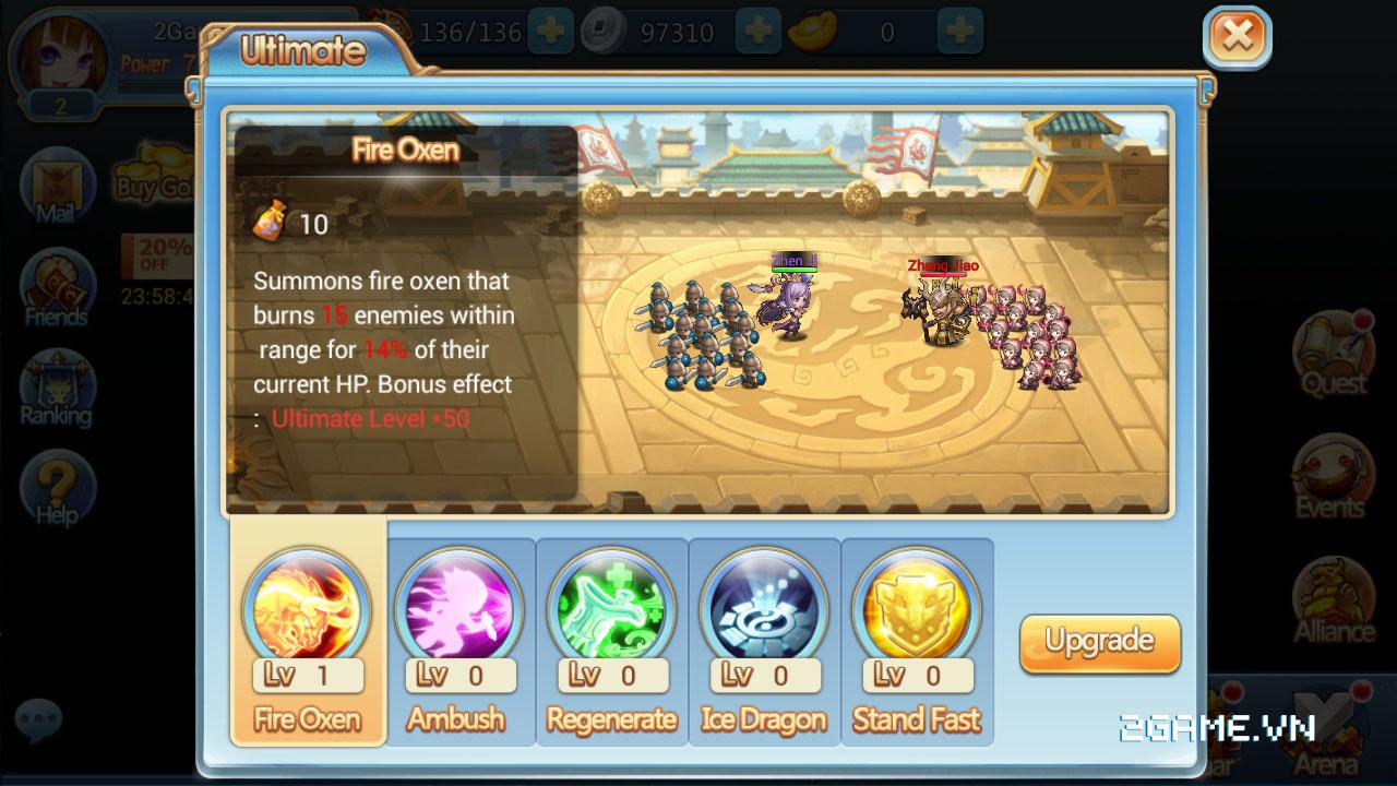 3Q Truyền Kỳ tăng tính chiến thuật bằng số tướng và ô xếp trận hình 4