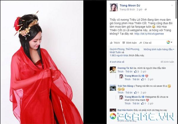 Trang Moon sắp thực hiện cosplay game Hoa Thiên Cốt Web 0