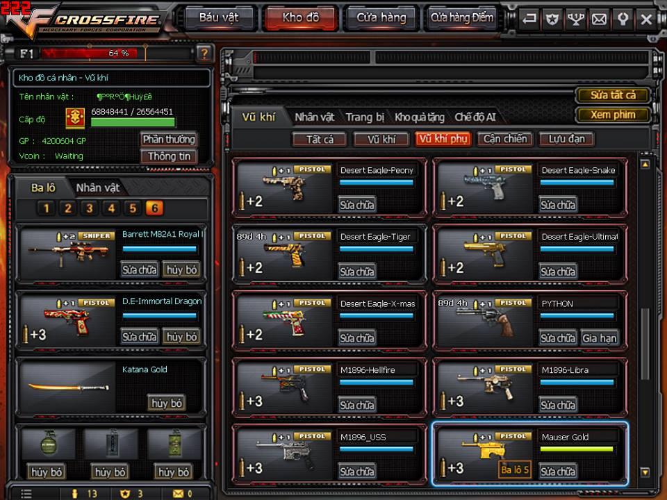 Game thủ Đột Kích bất ngờ được VTC Game tặng full kho súng lục báu vật 9