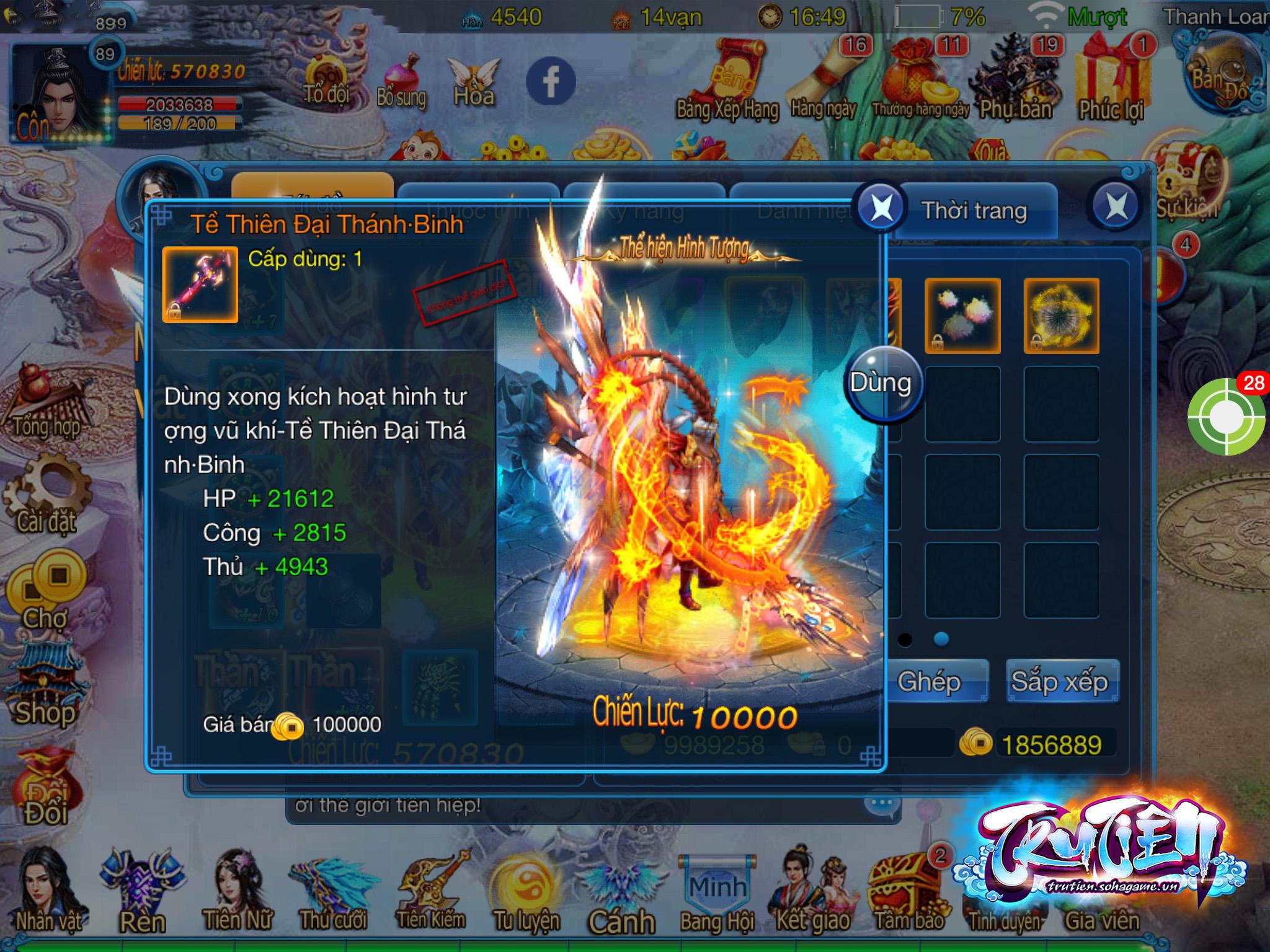 Tru Tiên Mobile cho phép người chơi hóa Tề Thiên Đại Thánh đón chào năm Khỉ 1