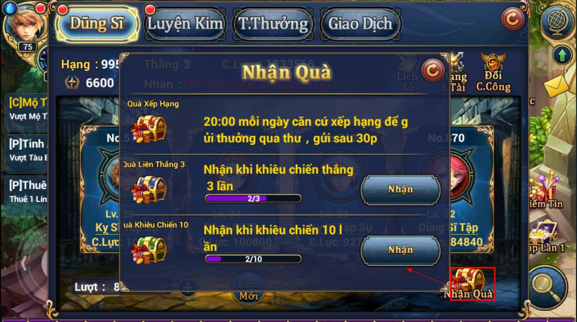 King Online - Tìm hiểu tính năng Đấu Trường 6