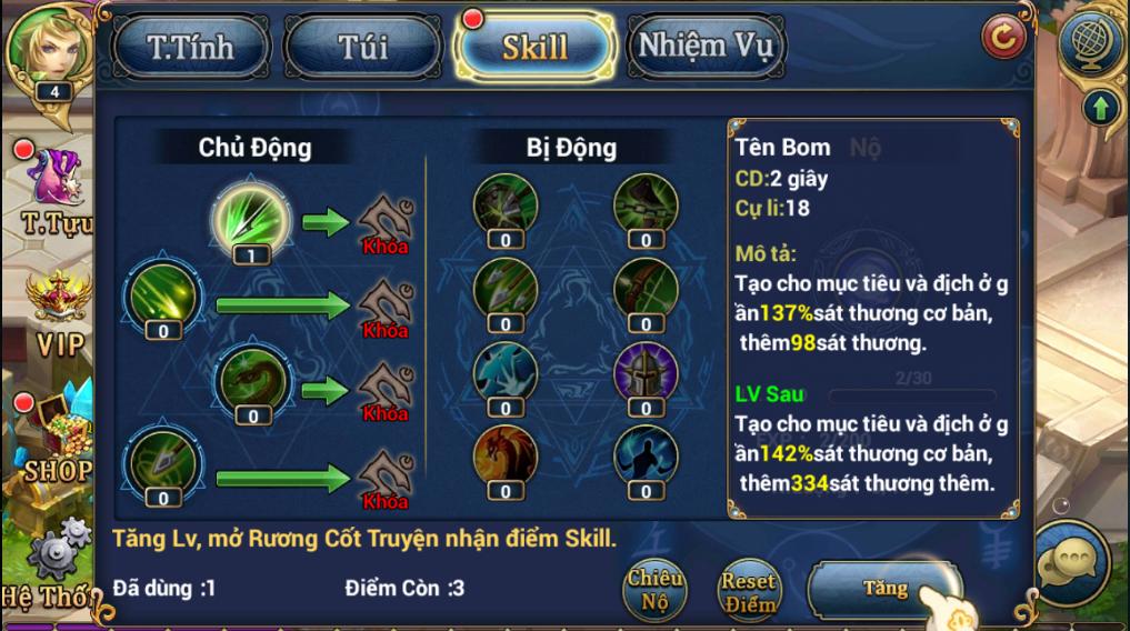 King Online - Tìm hiểu tính năng Kỹ năng 5