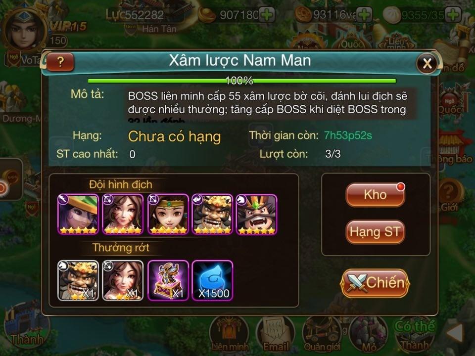 Binh Pháp 3D – Tìm hiểu tính năng Boss liên minh Nam Man 1