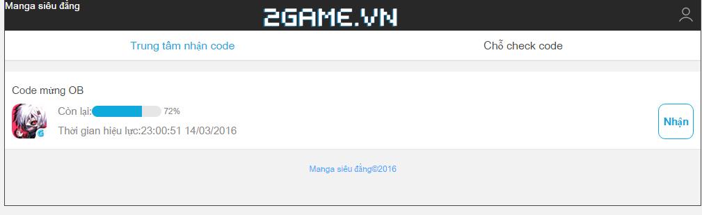 Manga Siêu Đẳng tặng giftcode cho game thủ 2Game 1
