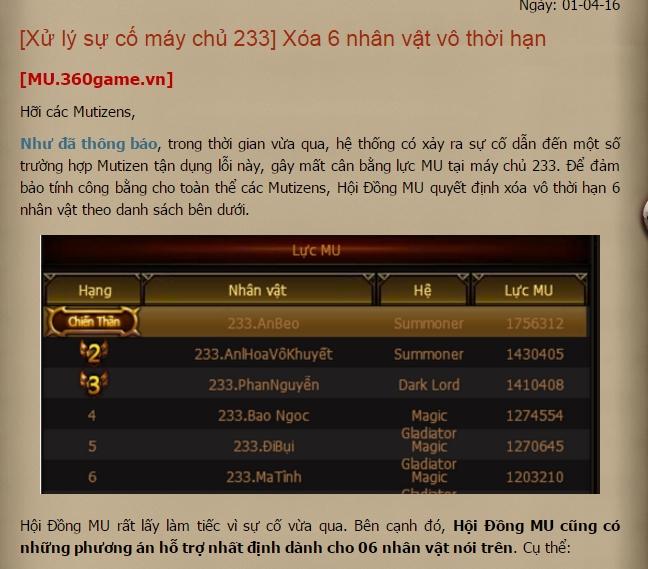 MU Huyền Thoại - Bi hài chuyện một game thủ Việt bị NPH xóa nhân vật vì... quá mạnh 3