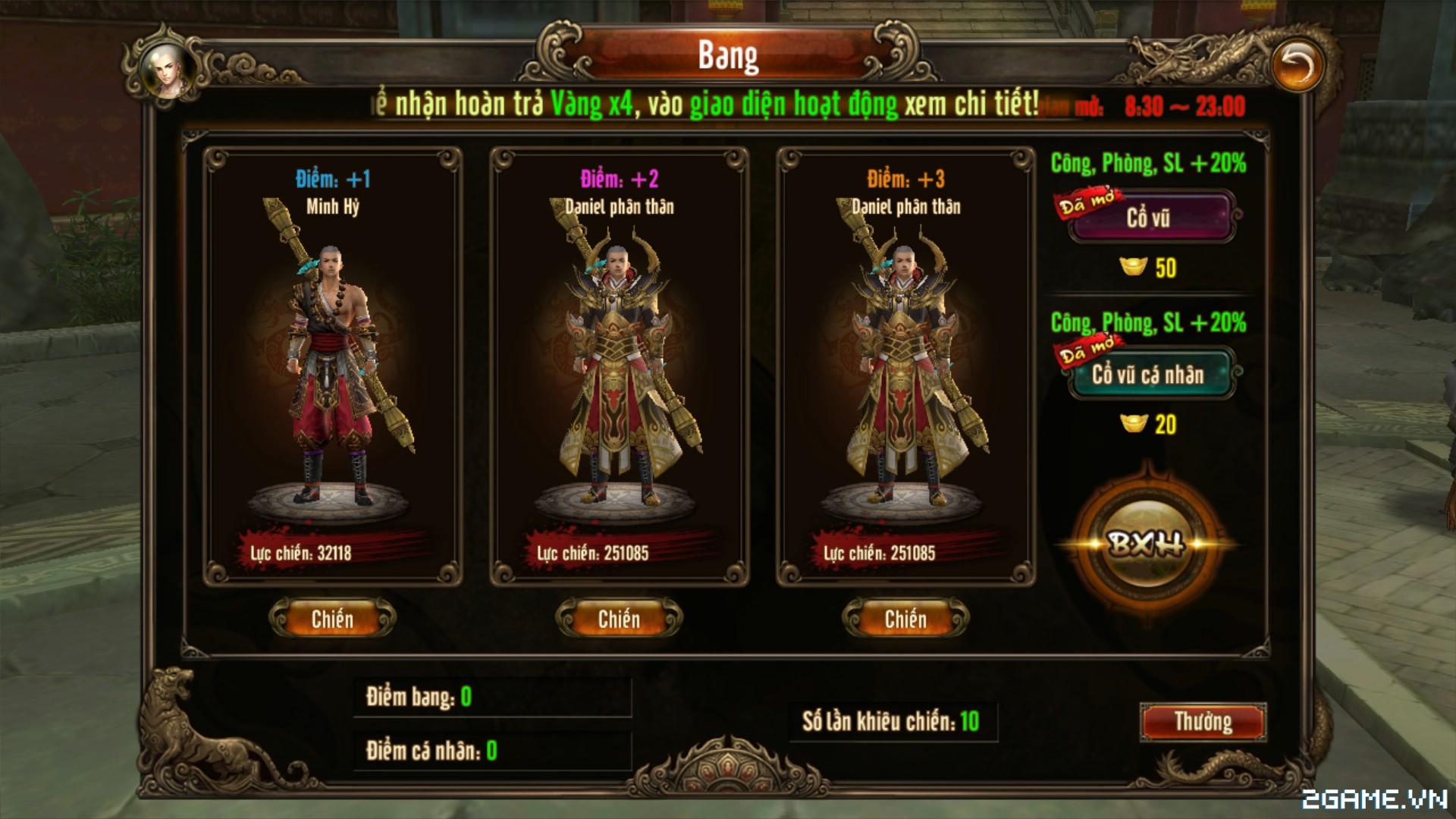 Kungfu Chi Vương – Giới thiệu Lôi Đài Bang trong game