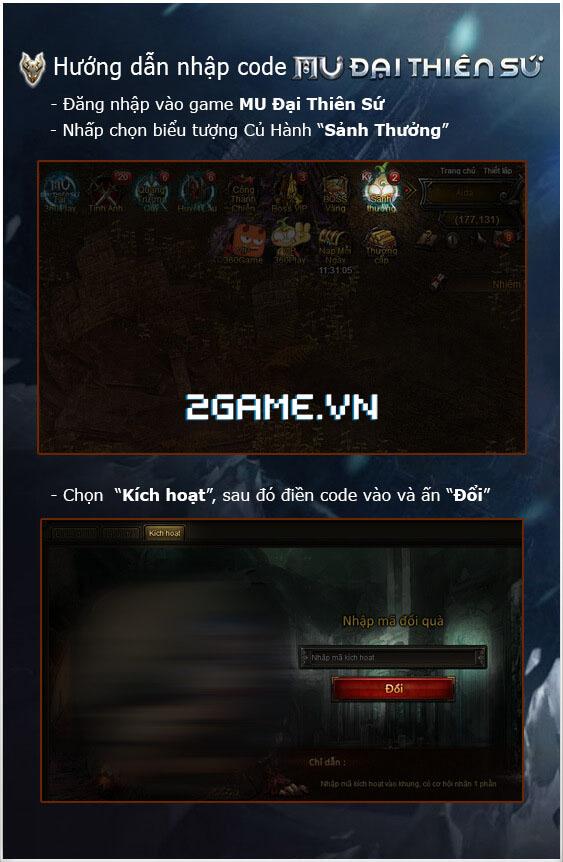 Webgame MU Đại Thiên Sứ tặng giftcode cho game thủ 2Game 2