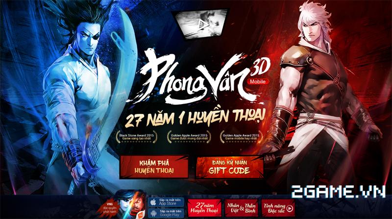 Phong Vân 3D tặng giftcode cho game thủ 2Game 1