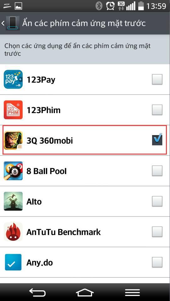 3Q 360Mobi - Hướng dẫn ẩn nút cảm ứng trước Nexus, LG 3