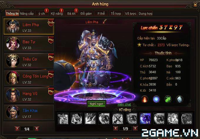 Webgame Soái Vương - Giao diện anh hùng 1