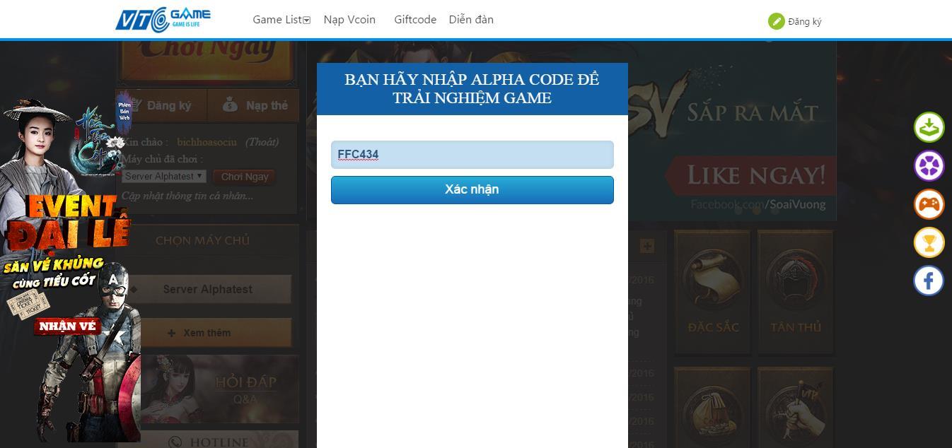 Tặng 220 giftcode game Soái Vương 2