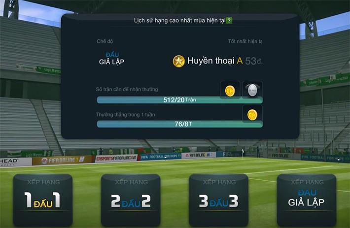 Chiến thuật giả lập xếp hạng Sao Vàng trong Fifa Online 3