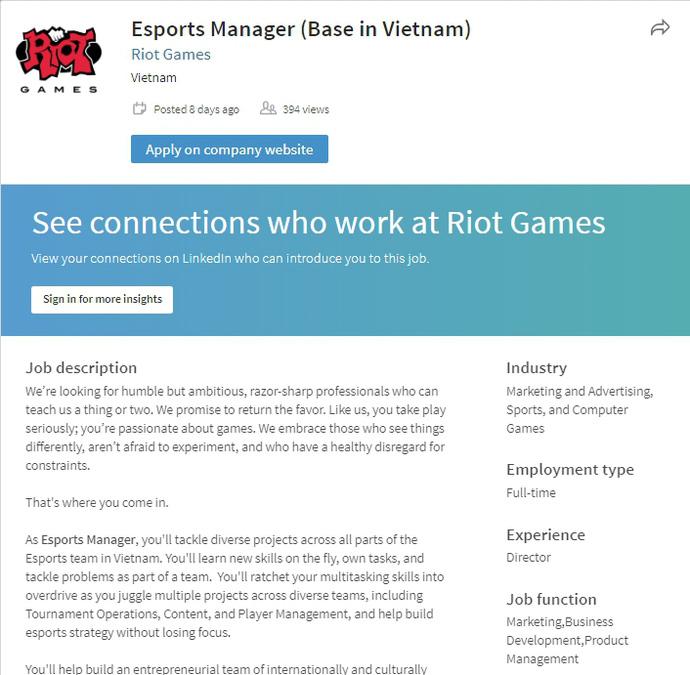 Riot Games bất ngờ tuyển nhân sự quản lý tại Việt Nam, muốn can thiệp vào giải đấu MDCS?